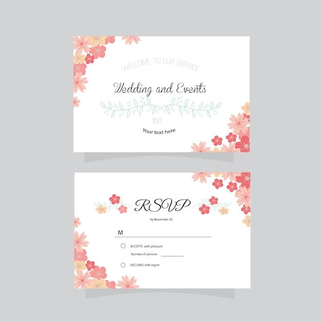 Business card wedding design free vector