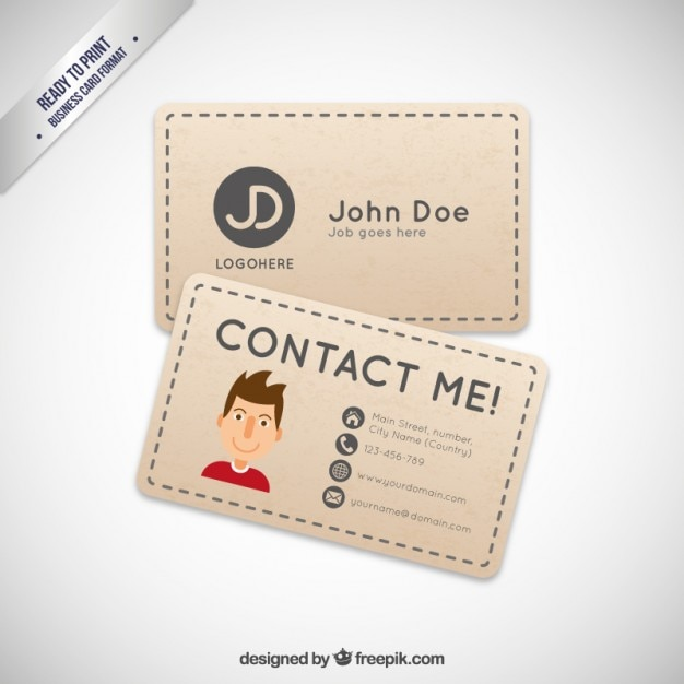 Business card with a cartoon avatar vector free download for Cartoon business cards