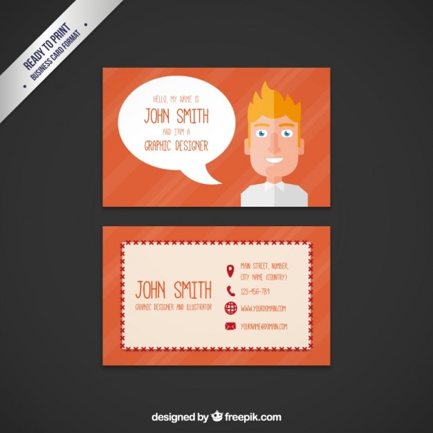 Business card with a cartoon man vector premium download business card with a cartoon man premium vector colourmoves Image collections