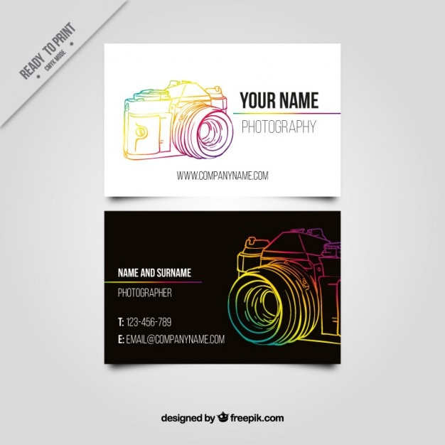 Business card with a colorful hand drawn camera Vector