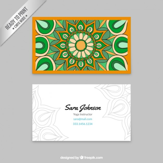 Business card with a colorful mandala vector free download business card with a colorful mandala free vector reheart