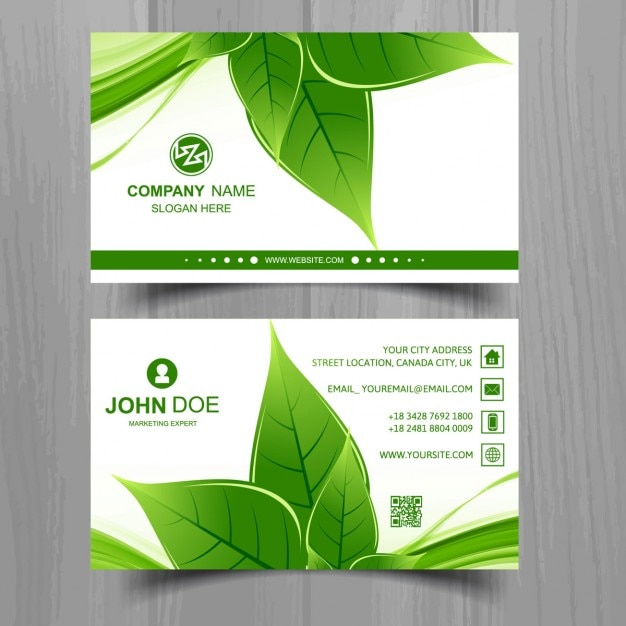 Business Card With A Green Leaf Free Vector