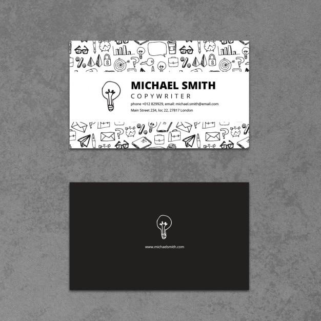 Business card with a hand drawn bulb vector free download business card with a hand drawn bulb free vector colourmoves