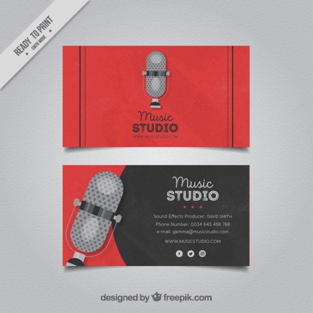 Business card with a microphone for a music studio vector free business card with a microphone for a music studio free vector colourmoves