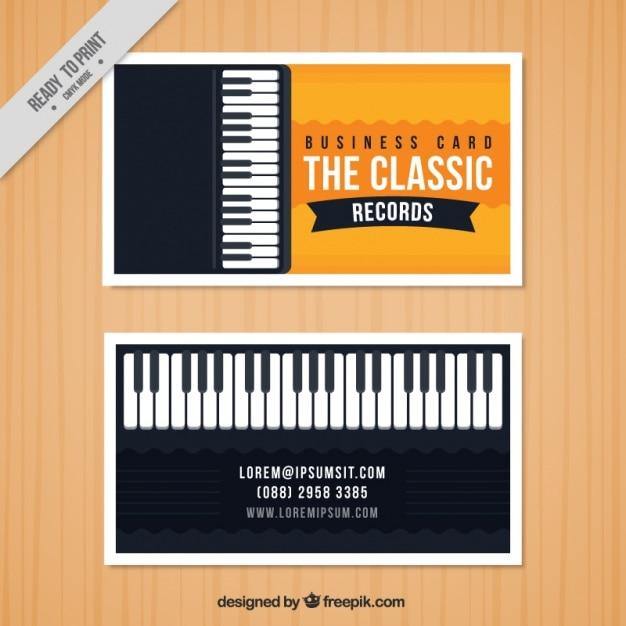 Business card with a piano for a music studio vector free download business card with a piano for a music studio free vector colourmoves