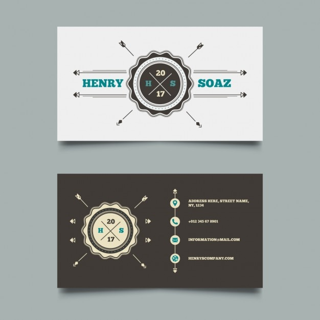 Business card with a vintage logo vector free download business card with a vintage logo free vector reheart Choice Image