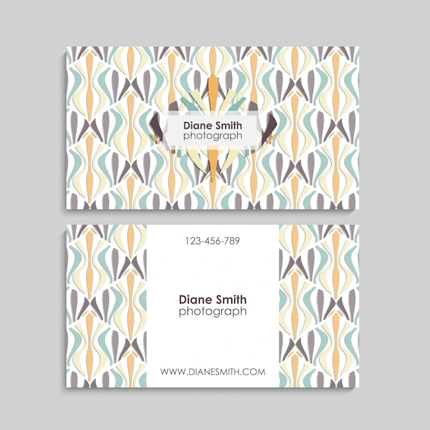 Business card with abstract elements. Premium Vector