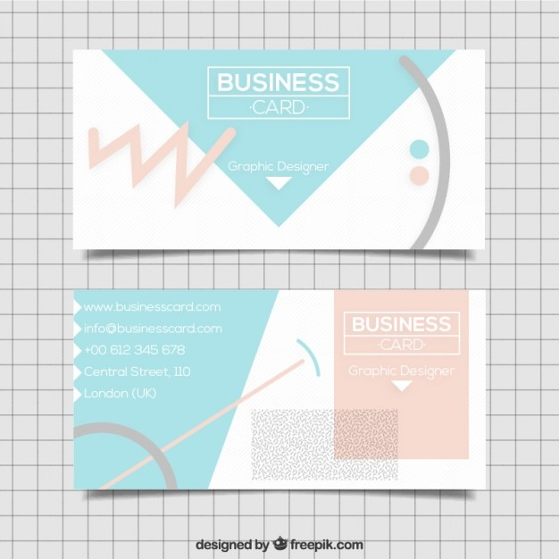 Business card with abstract shapes in soft tones Free Vector