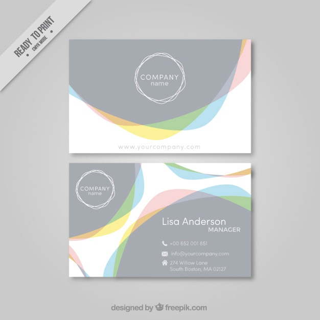 Business card with abstract shapes vector free download for Business cards shapes