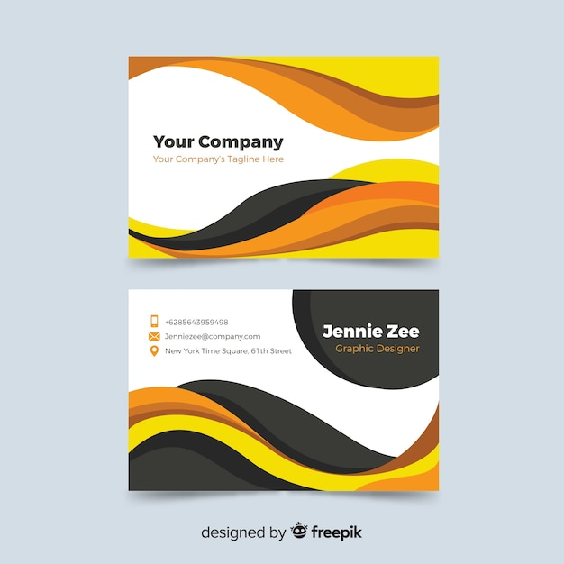 Business card with abstract template Free Vector