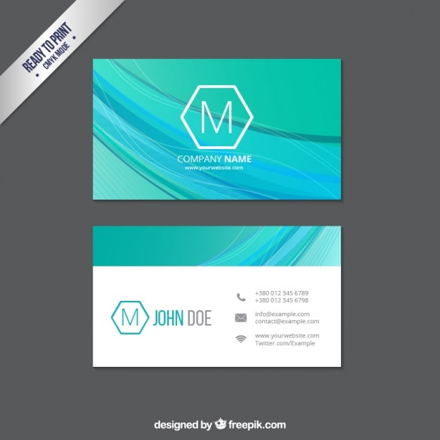 Business card with abstract waves vector free download business card with abstract waves free vector reheart Images