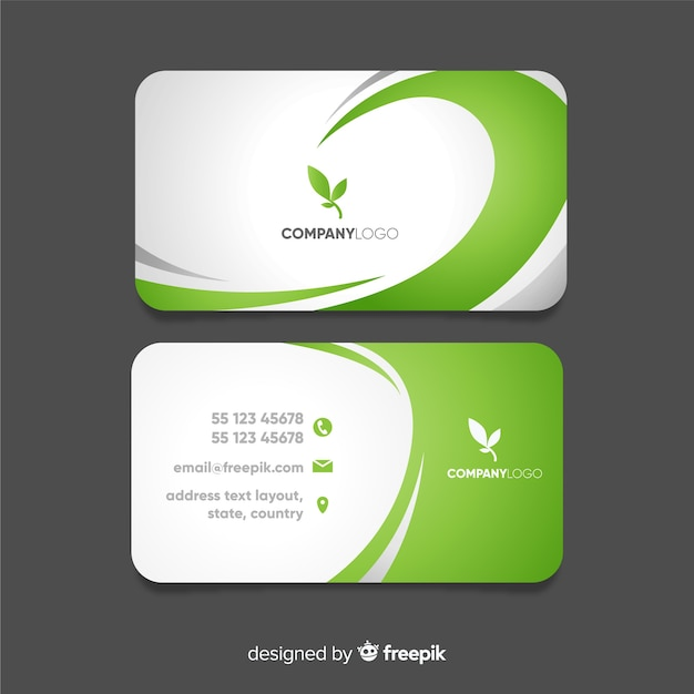Business card with abstract wavy shapes Free Vector