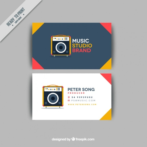 Business card with a amplifier for a music studio Vector ...