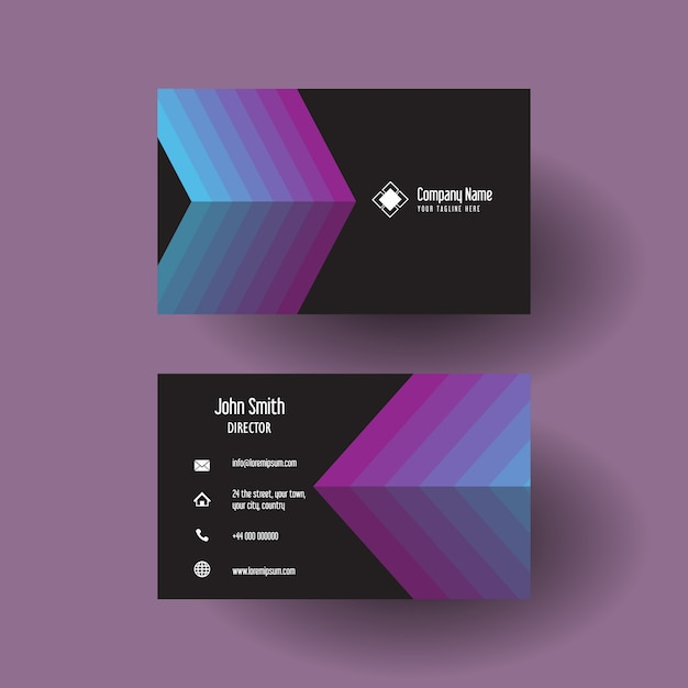 Business card with arrow design Free Vector