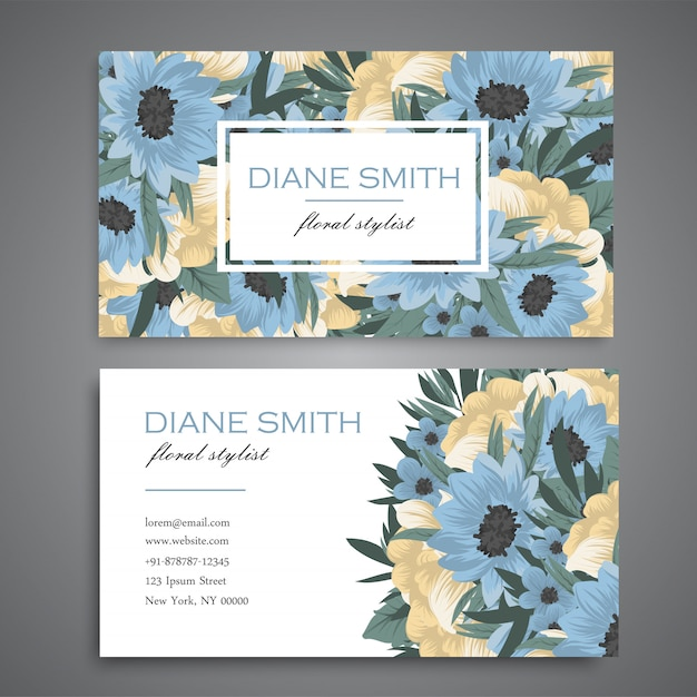 Business card with beautiful blue and yellow flowers Free Vector