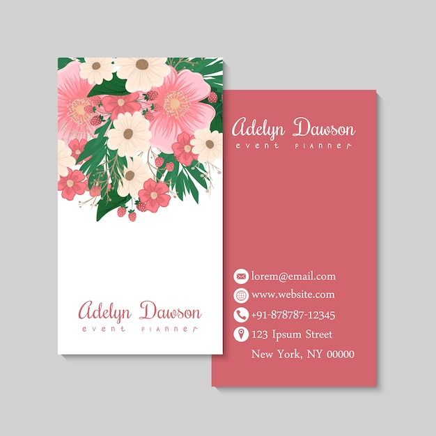 Business card with beautiful flowers and berriyes. template Free Vector