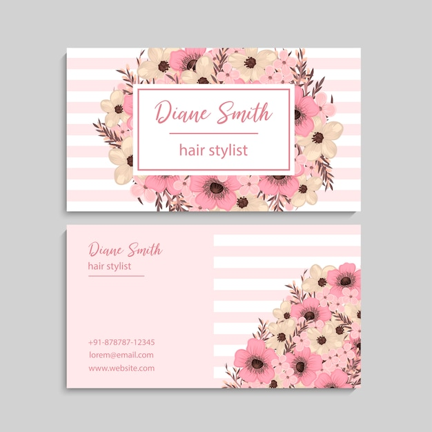 Business card with beautiful flowers. template Free Vector