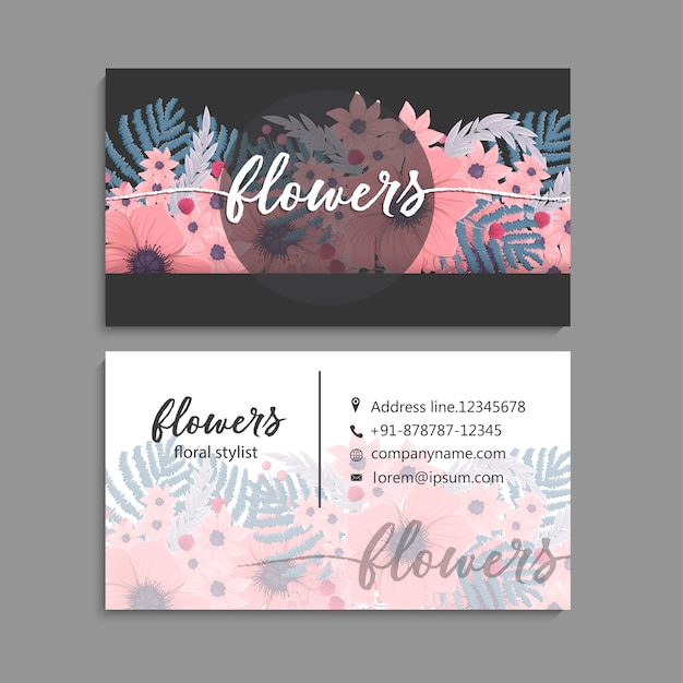 Business card with beautiful flowers template Free Vector