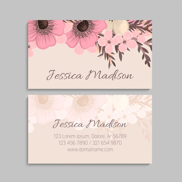 Business card with beautiful flowers Premium Vector