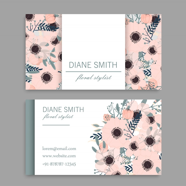 Business card with beautiful pink flowers Premium Vector