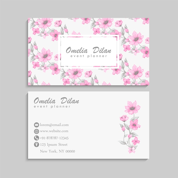 Business card with beautiful pink watercolor flowers Free Vector