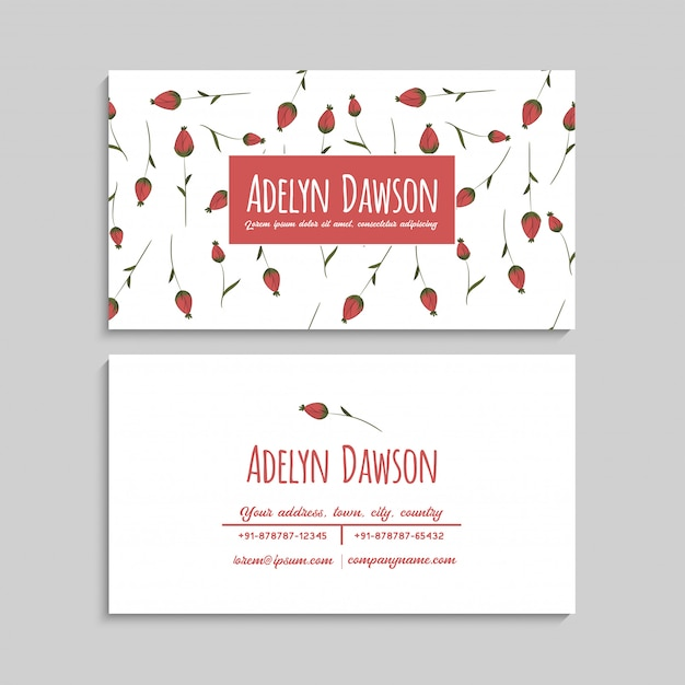 Business card with beautiful red flowers. Free Vector