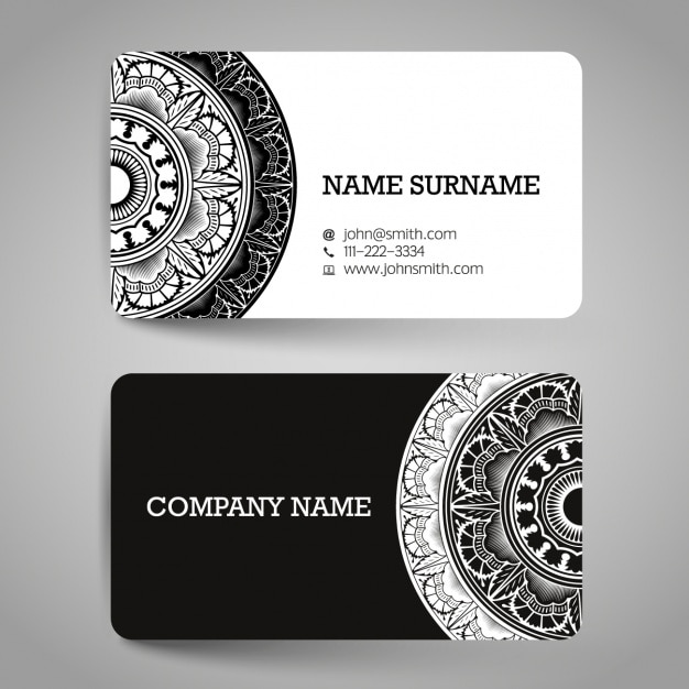 Business card with black and white ornaments vector free download business card with black and white ornaments free vector reheart
