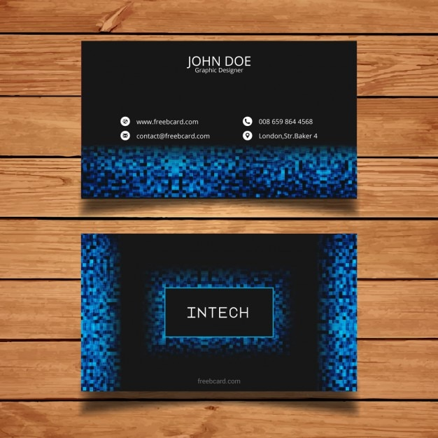 Business card with blue pixels vector free download for Business card pixels