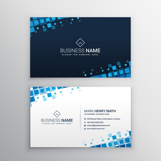 Business card with blue squares Free Vector