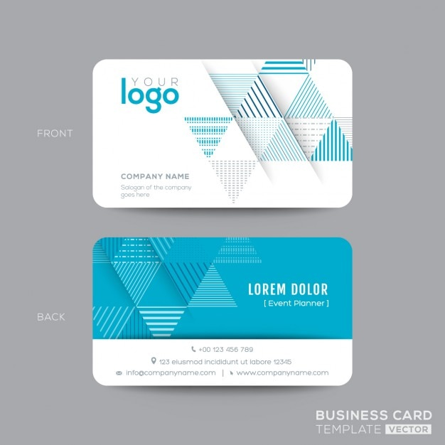 Business Card With Blue Triangles Free Vector