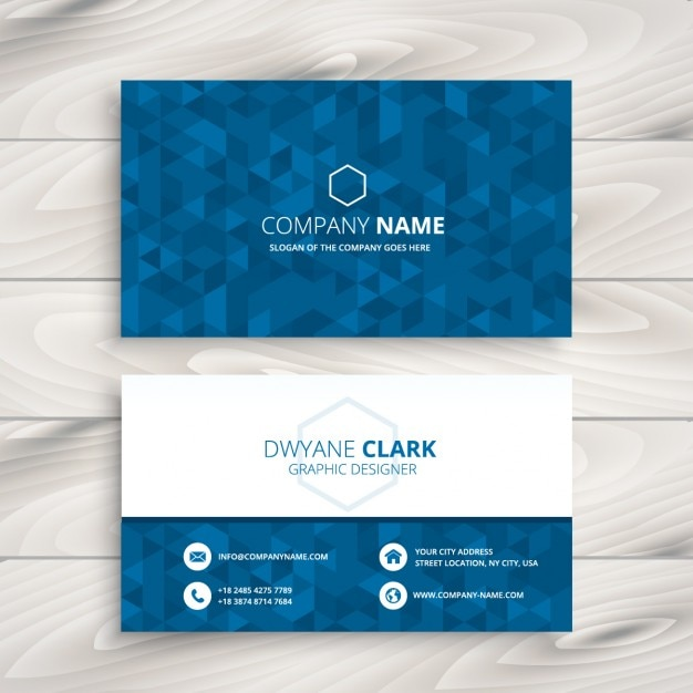 Business card with blue triangular pattern vector free download business card with blue triangular pattern free vector reheart Images