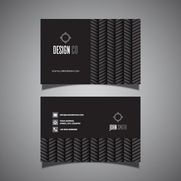 Business card with chevron pattern Free Vector