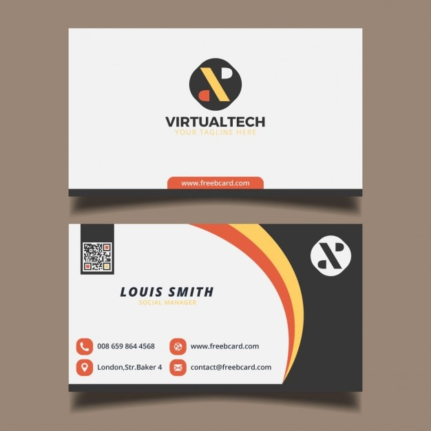 Business card with circular elements Vector