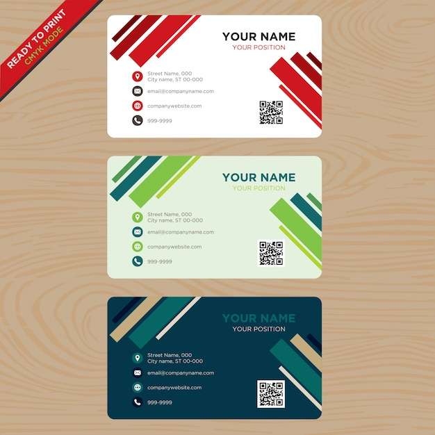 Business card with color bars Free Vector