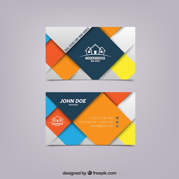 Business card with colored squares Free Vector