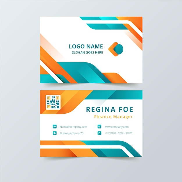 Визитная карточка с красочными абстрактными формами Premium векторы