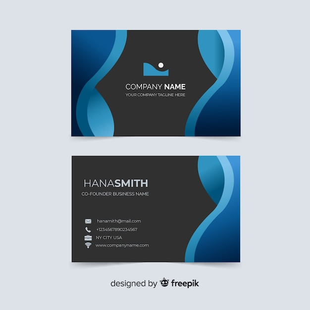 Business card with company name template Free Vector