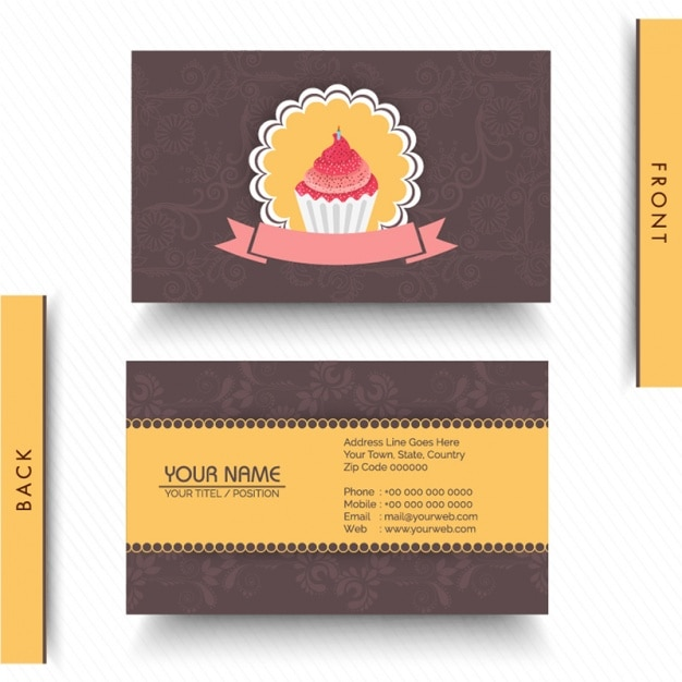 Business card with cupcake and decorative flowers Premium Vector