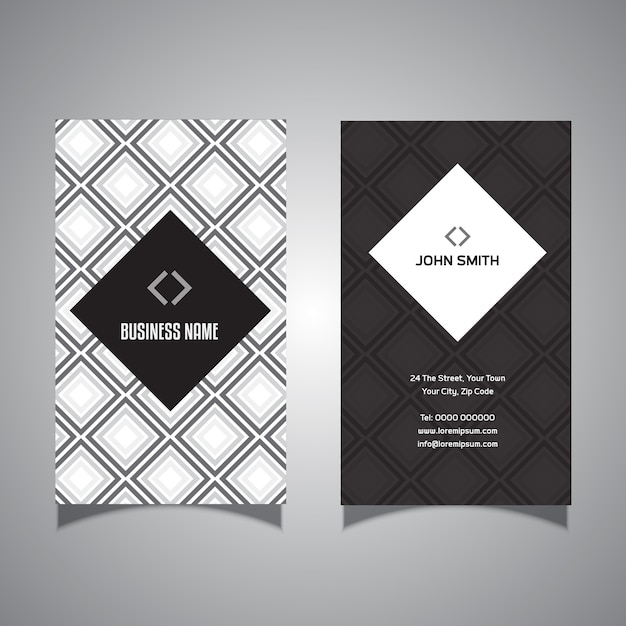 Business card with diamond design Free Vector