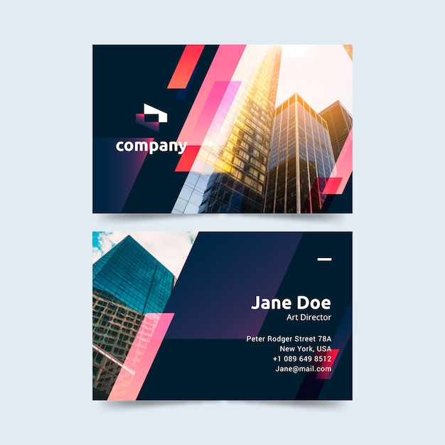 Business card with different shapes and photo Free Vector