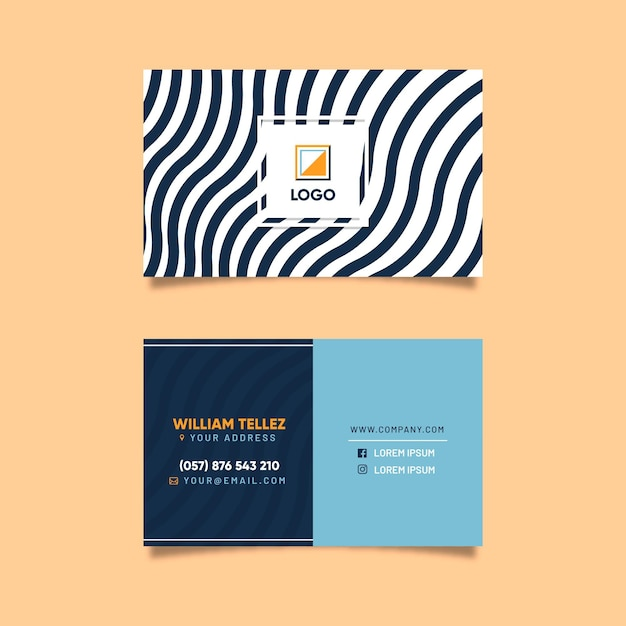 Business card with disorted lines Free Vector