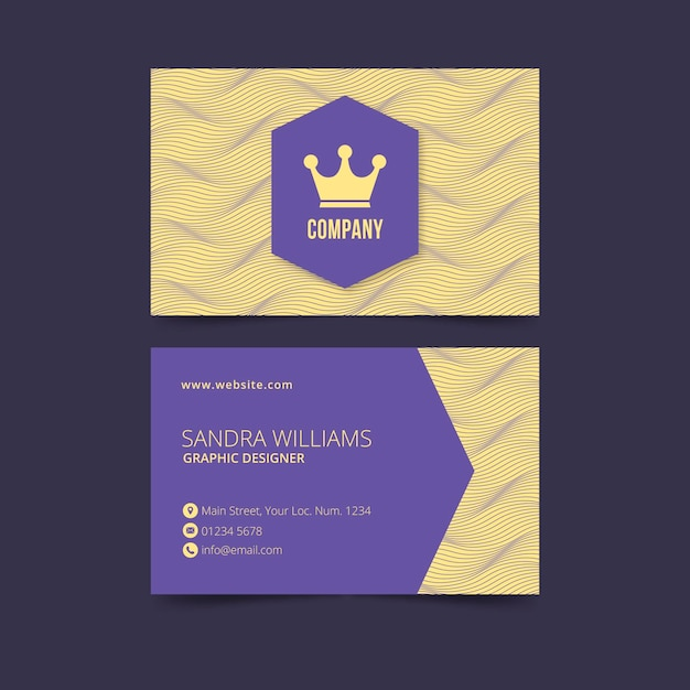 Business card with distorted lines Free Vector