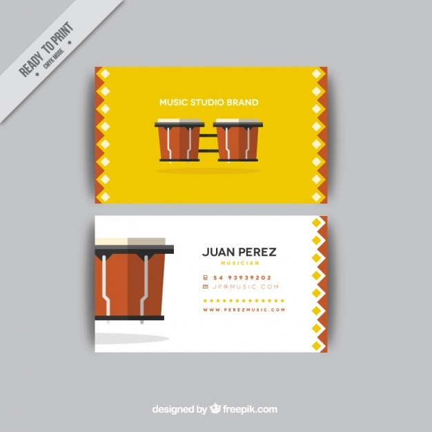 Business Card With Drums For An Music Studio Free Vector