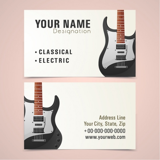 business card with electric guitar vector premium download