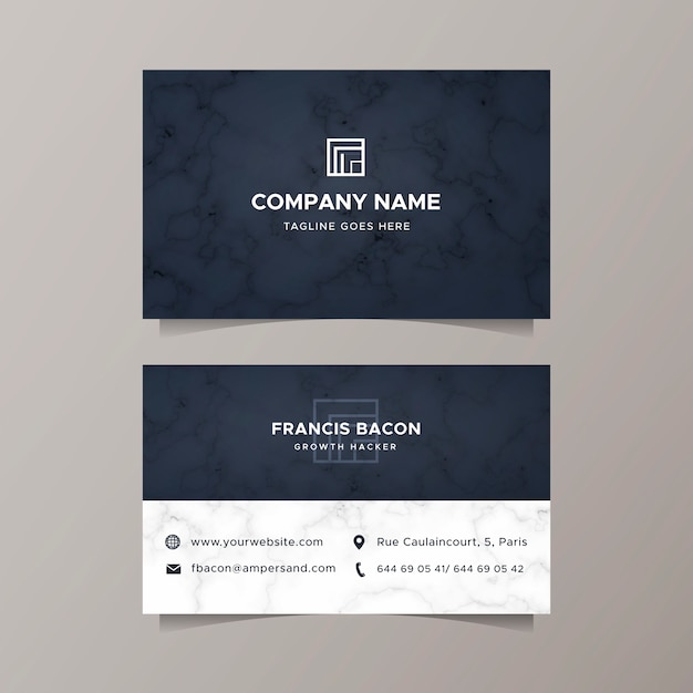 Business card with elegant marble texture Free Vector