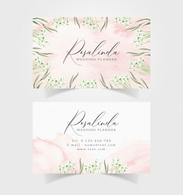 Business card with floral background Premium Vector