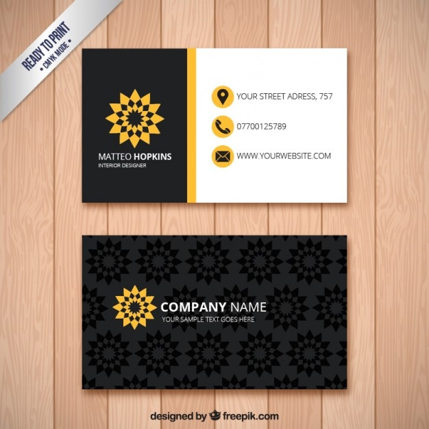 Business Card With Floral Print Premium Vector
