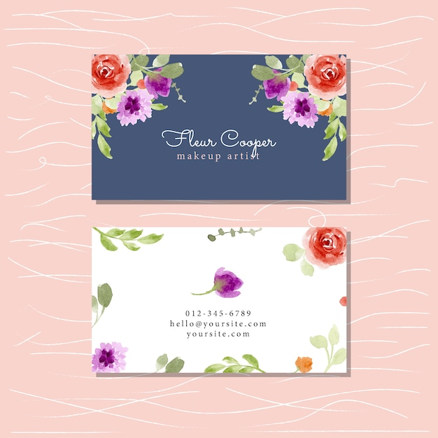 Business card with floral watercolor Premium Vector