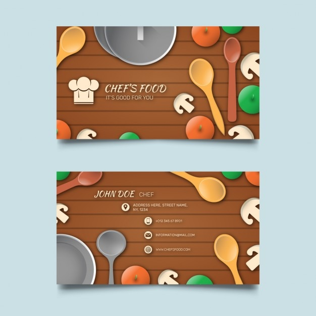 Business card with food and wooden background Free Vector