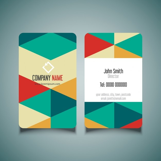 Business card with geometric colorful background vector free download business card with geometric colorful background free vector reheart Image collections